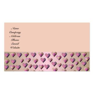Tarjeta de visita rosada de los corazones del