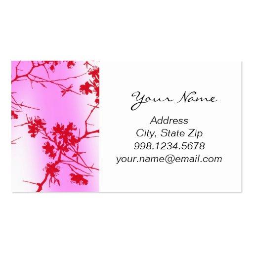 Tarjeta de visita rosada de los flores de la cerez