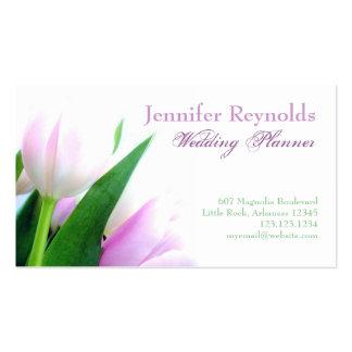 Tarjeta de visita rosada de los tulipanes