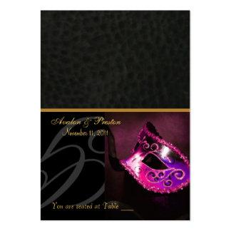 Tarjeta de visita rosada de Placecard de la máscar