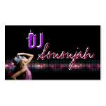 Tarjeta de visita rosada del baile de DJ de la púr