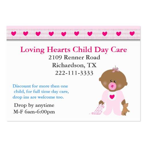 Tarjeta de visita rosada del cuidado de niños de l