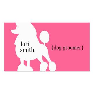 Tarjeta de visita rosada del Groomer del perro de
