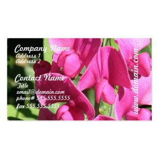 Tarjeta de visita rosada del guisante de olor