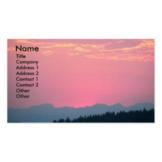 Tarjeta de visita rosada del paisaje de la puesta
