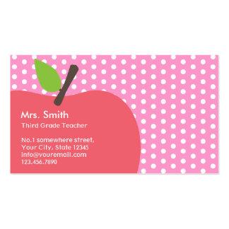 Tarjeta de visita rosada del profesor de escuela d