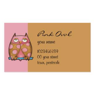 Tarjeta de visita rosada del rosa del búho