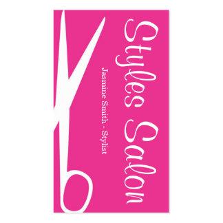 Tarjeta de visita rosada del salón de pelo 2