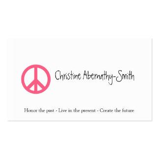 Tarjeta de visita rosada del símbolo de paz