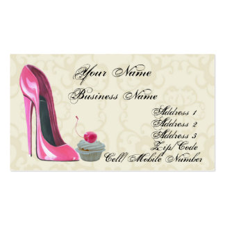 Tarjeta de visita rosada del zapato y de la