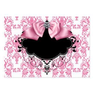 Tarjeta de visita rosada elegante del damasco