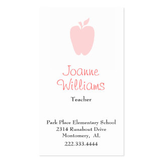 Tarjeta de visita rosada elegante del profesor de