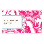 Tarjeta de visita rosada floral de lujo