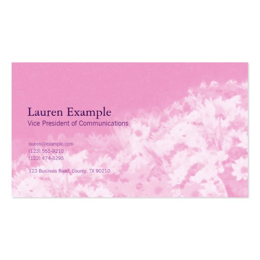 Tarjeta de visita rosada floral elegante