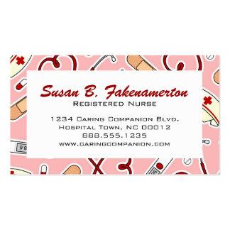 Tarjeta de visita rosada linda de la enfermera o d