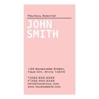 Tarjeta de visita rosada llana del politólogo