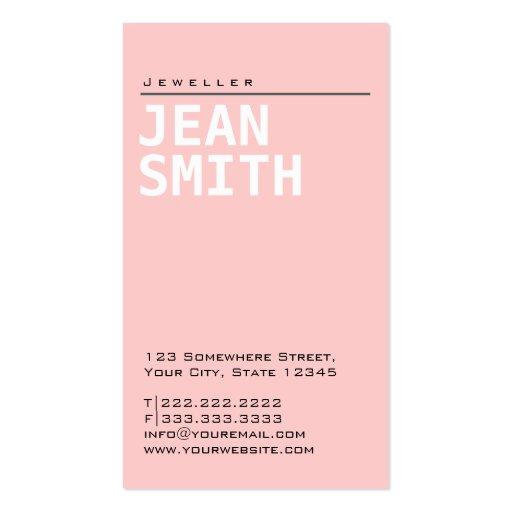 Tarjeta de visita rosada llana simple de la joyerí