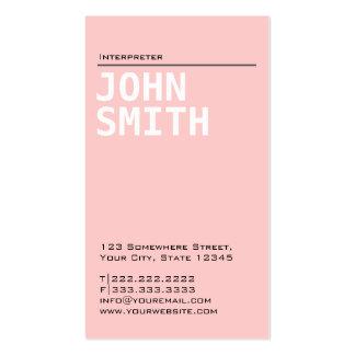 Tarjeta de visita rosada llana simple del intérpre