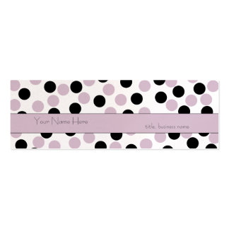 Tarjeta de visita rosada y negra flaca del lunar