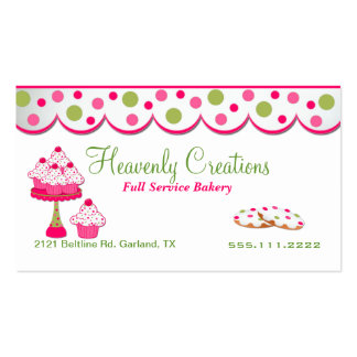 Tarjeta de visita rosada y verde de la panadería d