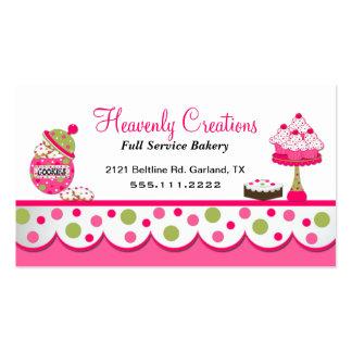 Tarjeta de visita rosada y verde linda de la panad