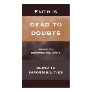 Tarjeta de visita simple de la cita de la fe
