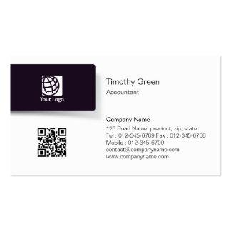 Tarjeta de visita simple del logotipo negro de la