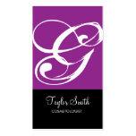 Tarjeta de visita simple del monograma (púrpura)
