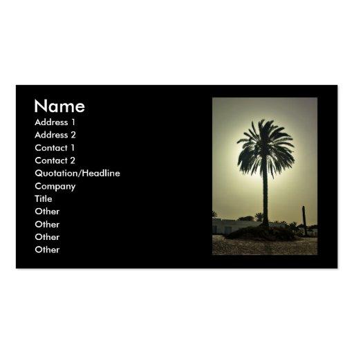 Tarjeta de visita soleada de la palma