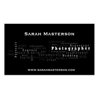 Tarjeta de visita tipográfica negra del fotógrafo