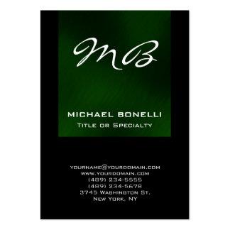 Tarjeta de visita única del monograma negro verde