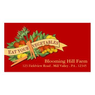Tarjeta de visita vegetal de la agricultura del me