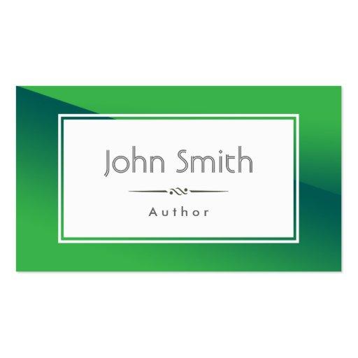 Tarjeta de visita verde abstracta del autor