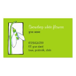 Tarjeta de visita verde blanca del florista de Sno