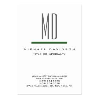 Tarjeta de visita verde blanca del monograma gris