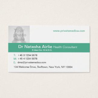 Tarjeta de visita verde/blanca médica simple de la