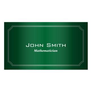 Tarjeta de visita verde clásica del matemático