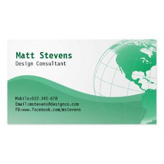 Tarjeta de visita verde de Américas del globo del