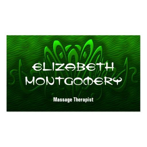 Tarjeta de visita verde de la cita de la terapia d