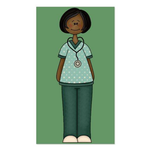 Tarjeta de visita verde de la enfermera