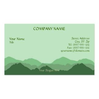Tarjeta de visita verde de la montaña