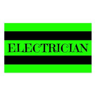 Tarjeta de visita verde de neón del electricista