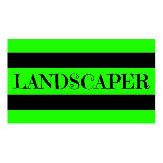 Tarjeta de visita verde de neón del paisajista