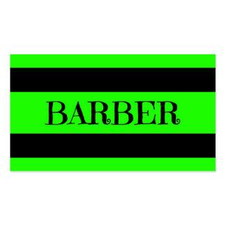 Tarjeta de visita verde de neón del peluquero