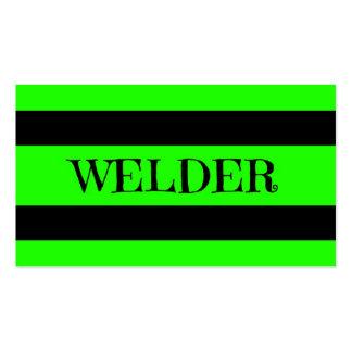Tarjeta de visita verde de neón del soldador
