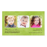 Tarjeta de visita verde del fotógrafo del retrato