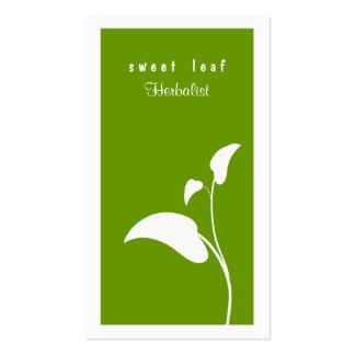 Tarjeta de visita verde del Herbalist de la hoja