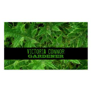 Tarjeta de visita verde del jardinero de la espina