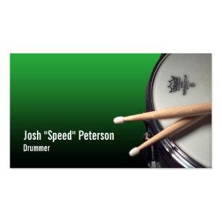 Tarjeta de visita verde del músico del batería del