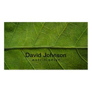 Tarjeta de visita verde del nutricionista de la